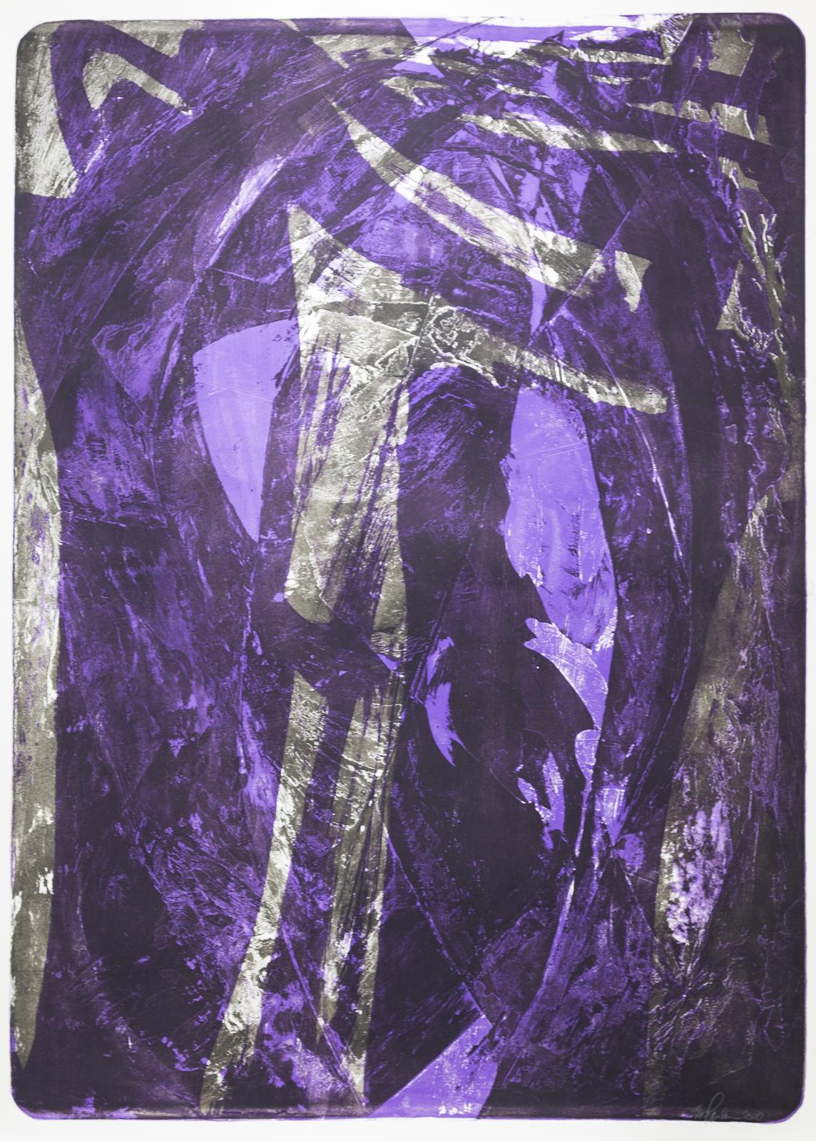 Palimpsest 1, 1998/2020, Lithographie, violett, 181x131cm