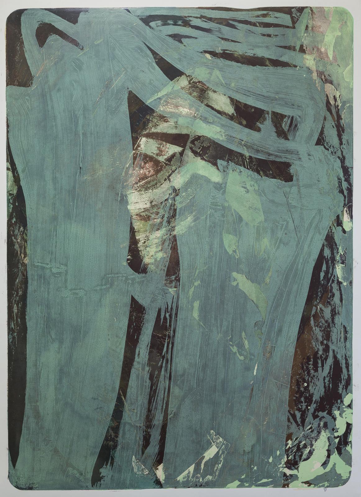Palimpsest 2, 1996/2020, Lithographie, grün, 181x131cm