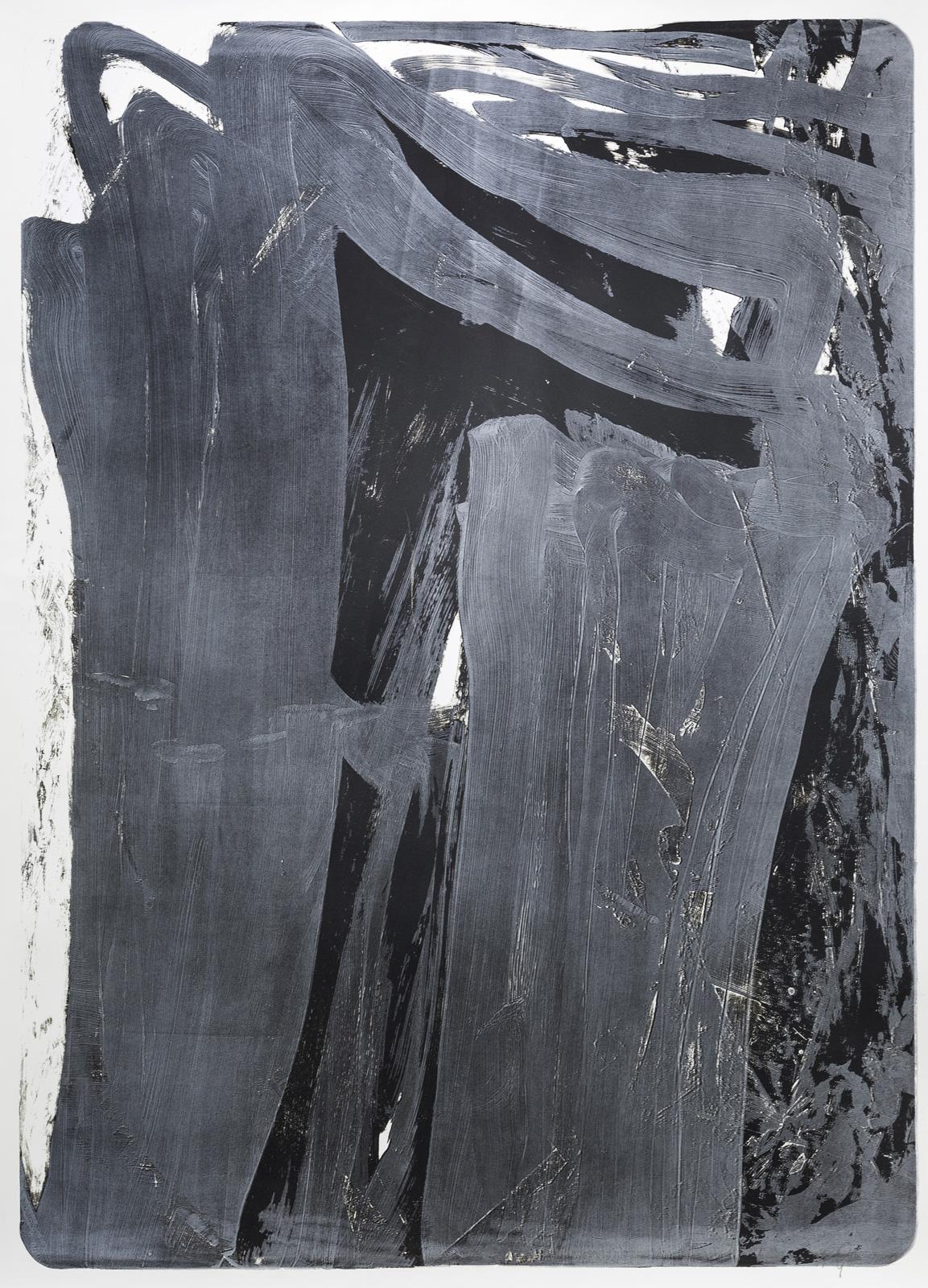 Palimpsest 2, 2020, Lithographie, silber/schwarz, 181x131cm
