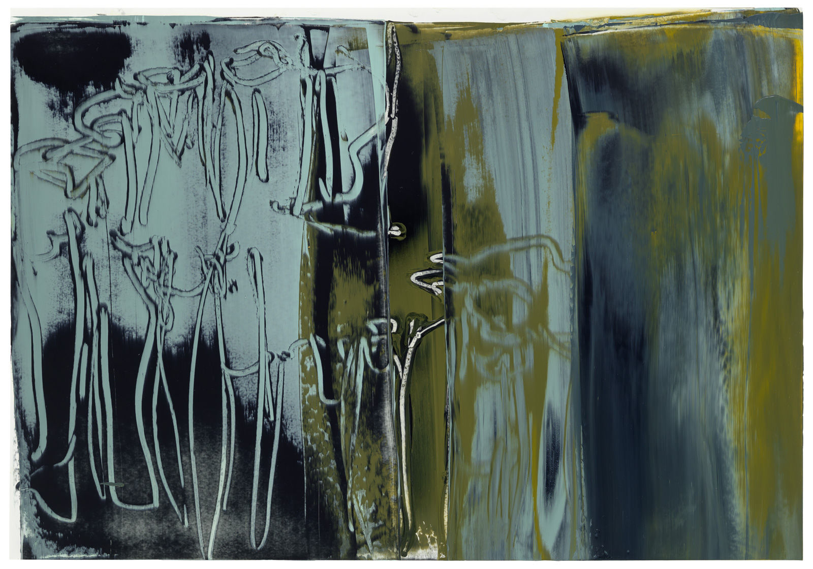 Sepiapfeiler, Öl auf Papier, 36x51cm, 2019