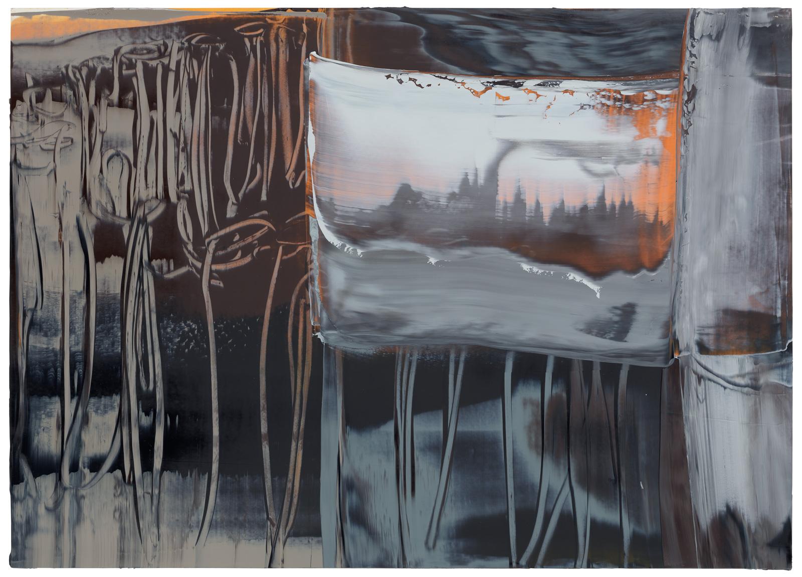 Phragmokon, 2019, Öl auf Papier, 50x70cm, 2019