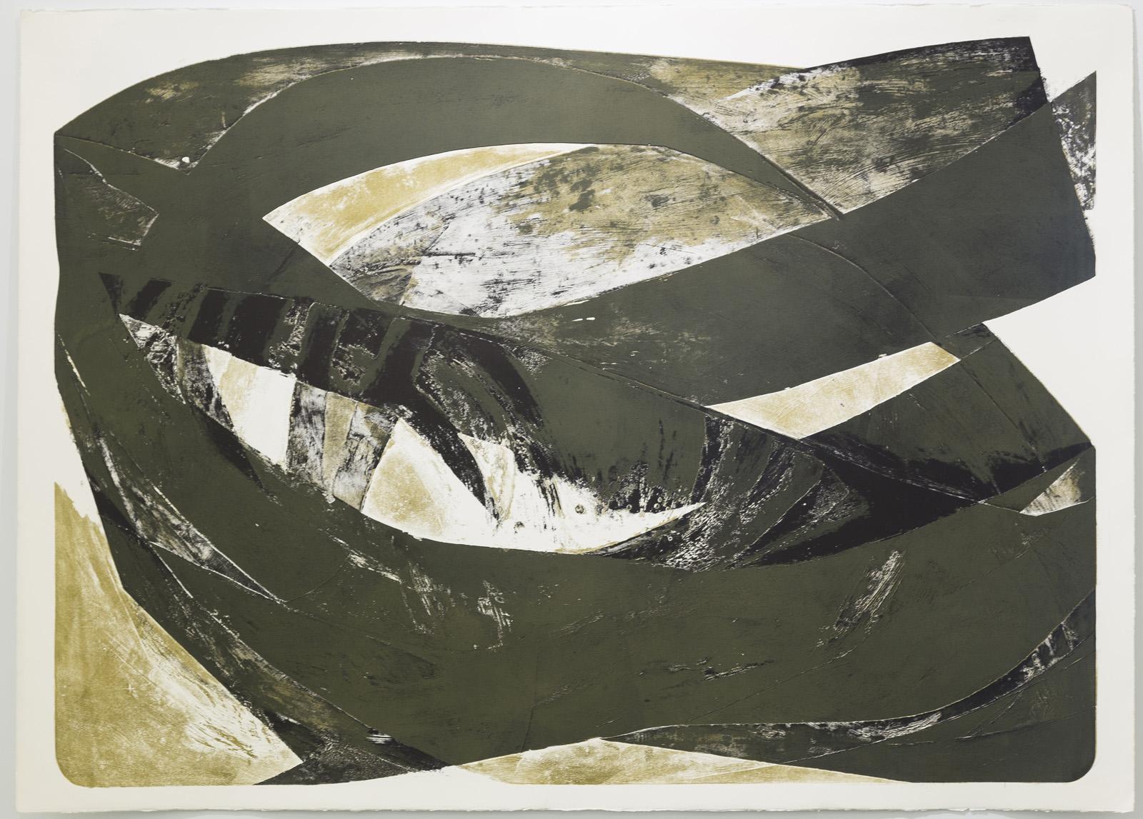 Schwarzoliv, Lithographie, 2 von 2, 131 x 181 cm, 1994